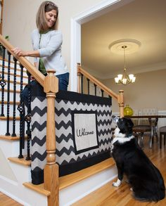Cute for baby or dog gate! stylish! Banister to Banister Signature Gate w/ Patch (Chevron)