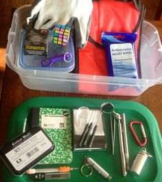 The kids Geocaching Kits: I bought everything from the dollar store. Instead of a pack pack, I got them foldable lunch bags that you can connect to key chain/pocket holder.  swag gifts, containers, tools, all supplies needed except for my pocket knife