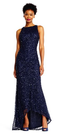Navy Sequin Gown for Mother of the Bride with High Low Hem