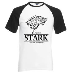 Game Of Thrones Raglan Tee House Stark Letters Winter Is Coming T Shirt Summer Cotton Top Tees Size S Color black Maison Stark, Game Of Thrones Winter, Stand Collar Shirt, Game Of Thrones Shirts, House Stark, Raglan Tee, Summer Shirts, Shirt Price, Shirt Style