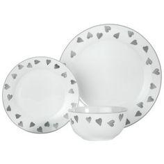 Buy HOME 12 Piece Porcelain Dinner Set   Grey Hearts At Argos.co.uk