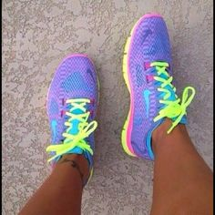 Nike TROPICAL TWIST ,PINK GLOW AND VOLT NIKE TR 4 TRAINERS WITH SWAROVSKI TICK $200.00