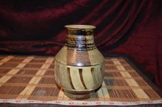 "HandMade Pottery Brown Vase Brush Jar Holder 5 7/8""x3 1/2"" Signed"