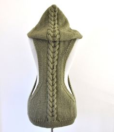 Womens Sweater Cardigan Hooded Vest Hand Knit by reflectionsbyds