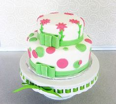 Pink and Green Cake with Flowers and Polka Dots