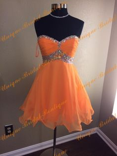 2016 Orange Homecoming Dresses With Sweetheart Neckline And Backless Real Photos Beaded Pleated Chiffon Short Graduation Gowns Custom Made Juniors Homecoming Dress Lulu Homecoming Dresses From Uniquebridalboutique, $85.43| Dhgate.Com