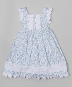 White & Blue Floral Dress - Infant, Toddler & Girls by Laura Ashley London #zulily #zulilyfinds