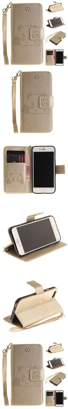 Cyber Monday Deals Week-For iPhone 7 Wallet Case,Valentoria Premium Vintage Emboss Cute Panda Animal Leather Wallet Pouch Case with Wrist Strap for iPhone 7 Christmas Gifts(iPhone 7, Gold)