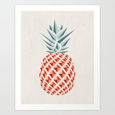 Pineapple  Art Print by Basilique. Worldwide shipping available at Society6.com. Just one of millions of high quality products available.