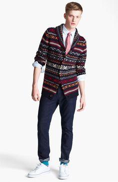 @Topman Shawl Collar Cardigan, Shirt & Skinny Jeans | #Nordstrom