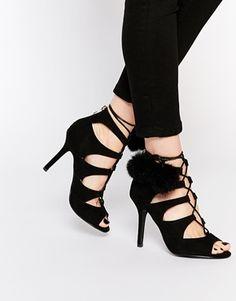 Glamorous Black Ghillie Heeled Pom Pom Sandals