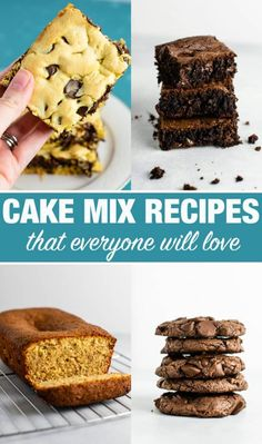 Easy Cake Mix Cookie Bars made with just four ingredients: oil, eggs, cake mix, and chocolate chips. An easy cake mix dessert! Chocolate Chip Oatmeal, Peanut Butter Oatmeal, Chocolate Ganache, Homemade Stir Fry Sauce, Oatmeal Energy Bites, Pineapple Smoothie Recipes, Cake Mix Cookies, Sandwich Cookies, Shortbread Cookies