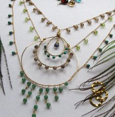 14K Gold fill filled Peacock paradise necklace iolite smoky quartz peridot faceted drops square half hard hand wire wrapped formed roundelle roundel rondelles beads tear drop briolette briolet turquoise aventurine 3 layers necklace choker feather plume, by ArtWark. Item's been sold, but it's pretty. :)