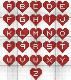 New Knitting Charts Letters Perler Beads Ideas Cross Stitch Letters, Cross Stitch Heart, Beaded Cross Stitch, Cross Stitch Embroidery, Crochet Letters, Embroidery Alphabet, Embroidery Monogram, Hama Beads Patterns, Bracelet Patterns