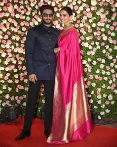 DeepVeer Reached Kapil's Wedding Reception Holding Hands And We Are Mesmerized Seeing The Couple Straight From Heaven - HungryBoo Indian Reception Dress, Bride Reception Dresses, Reception Sarees, Wedding Dress Men, Indian Wedding Outfits, Saree Wedding, Wedding Suits, Indian Outfits, Wedding Reception