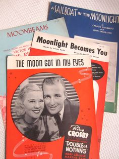 Vintage 1930s Romance Moonlight Moonbeams Moon in by corrnucopia
