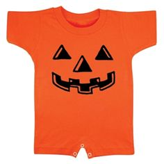 Pumpkin Romper  Tiny trick-or-treaters magically turn into jack o'lanterns in this quick-change romper with snap crotch for easy diaper changes.