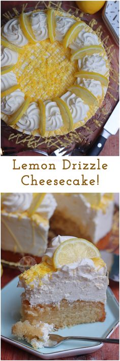 A Lemon Drizzle soaked Lemon Sponge with a No-Bake Lemon Cheesecake Topping… a Lemon Drizzle Cheesecake! Lemon Cheesecake Recipes, Cheesecake Toppings, Lemon Recipes, Sweet Recipes, Baking Recipes, Cupcakes, Cupcake Cakes, Muffin Cupcake, Just Desserts