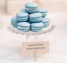 Blue Macarons; perfect addition to sweets table at boy baby shower