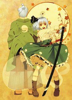 Touhou - Konpaku Youmu and Konpaku Youki https://www.pixiv.net/member_illust.php?mode=medium&illust_id=49314354