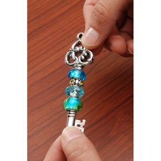 Tri Key in Antique Silver - Mix and Mingle Bead Drop Pendant