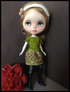 Blythe outfit-pistaccio leather top and skirt- 2 pieces-vintage embroidery indian sari.