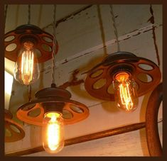 Chicken Feeder Chandelier Pendant Lighting - Pendant Lighting -   Sold the Chickens!! Made lights!! I have been told that I have too much time on my hands…… Whatever! I made these real cool looking pendant lighting chandelier from CHICKEN FEEDERS! Great little lights that you can hang anywhere! Very lightweight and very funky!  #Chandelier #Diy #Edison #Lightbulb #Pendantlamp #Recycled #Steampunk #Vintage