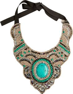 Zad Beaded Back Tie Statement Necklace