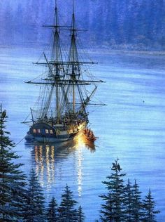 Tall Ship / Sailing by the moon. Description from pinterest.com. I searched for this on bing.com/images
