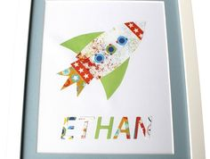 Handcrafted Name Art - ROCKETSHIP Scrapbook Pages, Scrapbooking, Name Art, Radley, Room Ideas, Names, Children, Boys, Kids