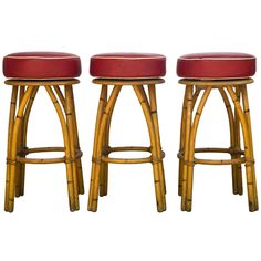 Heywood Wakefield Rattan Bar Stools | From a unique collection of antique and modern stools at https://www.1stdibs.com/furniture/seating/stools/