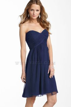 2012 Style Midnight Navy A line Strapless Sweetheart Short Silk Chiffon Bridesmaid Dress