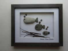 Pebble Art - Family Art, Fish Family, Family of Three, Personalised, Home Decor, Unique Pebble Art, by Pebble Road Studio by PebbleRoadStudio on Etsy