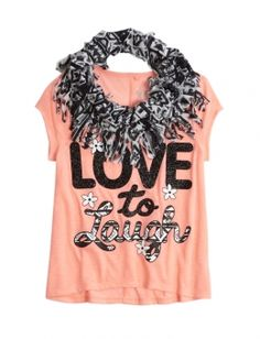 Fringe Scarf 2fer Graphic Tee | Justice