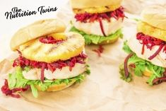 Grilled Pineapple Turkey Burgers   Finger-licking good!   Super satisfying with 33 grams of protein!   For MORE RECIPES please SIGN UP for our FREE NEWSLETTER www.NutritionTwins.com