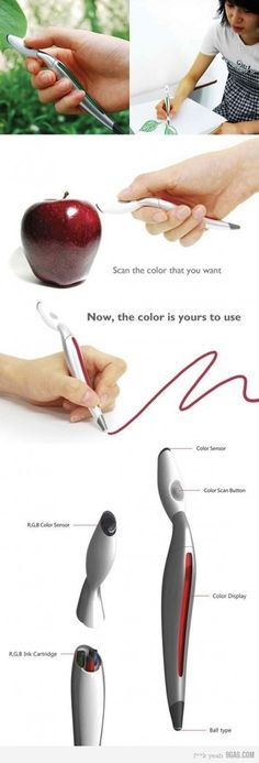 Scanner pen. This is sooo cool. Scan the color you want and then write with it!