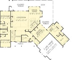 The Hot Springs Cottage II House Plans First Floor Plan - House Plans by Designs Direct.