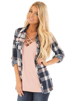 ffabe5201 Lime Lush Boutique - Navy and Blush Plaid Soft Button Up Top