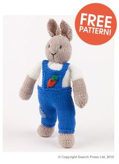 Free knitting pattern for Garden Bunny Rabbit by Val Pierce (from Deramores - affiliate link) tba Knitting Bear, Teddy Bear Knitting Pattern, Animal Knitting Patterns, Stuffed Animal Patterns, Free Knitting, Knitting Toys, Knitted Bunnies, Knitted Teddy Bear, Knitted Animals