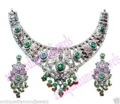 12-81ct-ROSE-CUT-DIAMOND-GEMSTONE-WEDDING-VINTAGE-STYLE-17-LONG-NECKLACE-SET