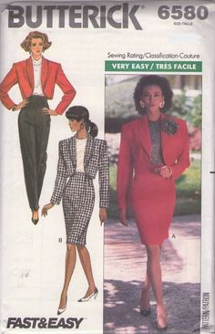 Butterick 6580 Vintage 80's Sewing Pattern CHIC Very Easy Cropped Shawl Collar Bolero Suit Jacket, Hi...