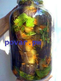 Соленые баклажаны с морковкой.  4 кг. баклажан 2 кг моркови 2-3 головки чеснока  300-400 г веточек сельдерея 2-3 стручка горького перца(по вкусу)  Рассол. На 1 литр воды 70 г крупной соли.  Баклажанчики надрезаем по вогнутой стороне от попки к носику так,чтобы баклажан остался целеньким.В большую кастрюлю с кипящей водой опускаем баклажанчики и варим примерно от 3 до 5 минут.Точно сказать трудно-это зависит от размера и сорта баклажан.Проверяется путем втыкания вилки в п..у, ,ой простите,в…