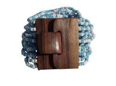 Mahogany wood buckle & beaded cuff