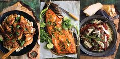 Singapore chicken; Curried side of salmon; Venison meatballs in tomato sauce. Pictures / Babiche Martens.