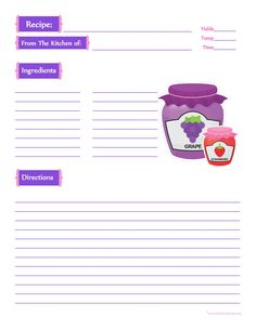 Jam Jars Recipe Card - Full Page