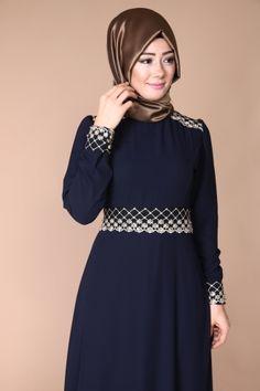 B.R.N - Dantelli Şifon Abiye Elbise BRN81281 Laci (1) The Dress, High Neck Dress, Jewelry King, Africa Dress, Hijab Dress, Hijab Fashion, Blouse Designs, Gowns, Hijabs