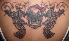 Guns Skull Bat Tattoo Ideas Design - http://tattoosaddict.com/guns-skull-bat-tattoo-ideas-design.html #Bat, #Design, #GunTattooS, #Guns, #Ideas, #Skull, #Tattoo