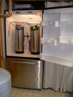 A lot of home brewers have a refrigerator in their basement, containing simple keg systems like this.
