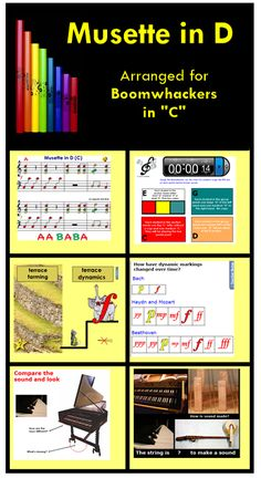 """SMARTBoard lesson - Explore evolution of musical dynamics while playing """"Musette in D(C)"""" with Boomwhackers. All-inclusive SB lesson with BW arr. and acc. has been kid-tested and received the """"Uber-fun""""  rating. Who knew a raven's feather could be so important?"""