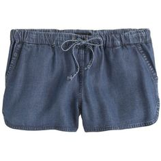 J.Crew Lightweight washed chambray short ($55) ❤ liked on Polyvore featuring shorts, bottoms, pants, lightweight shorts, drawstring shorts, short shorts, elastic waist shorts and j. crew shorts